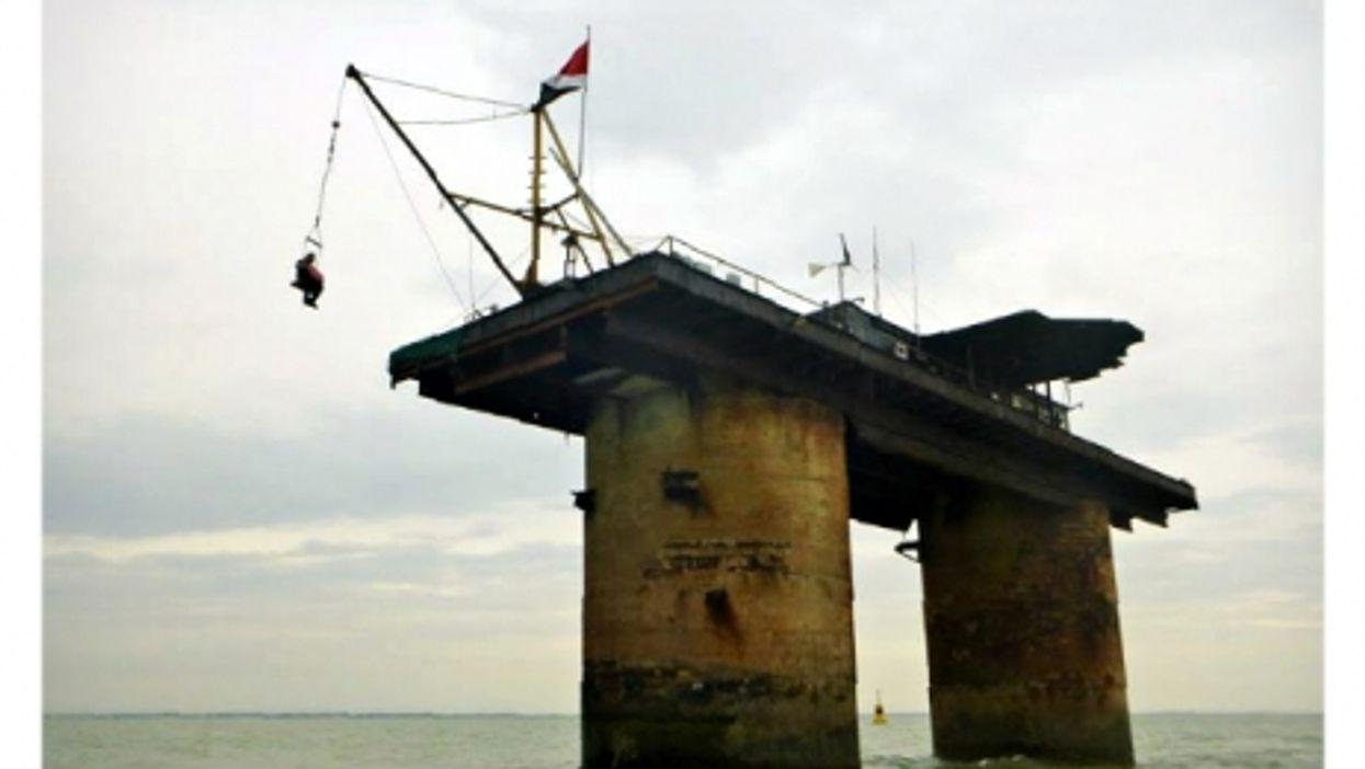 Man being hoisted onto Sealand