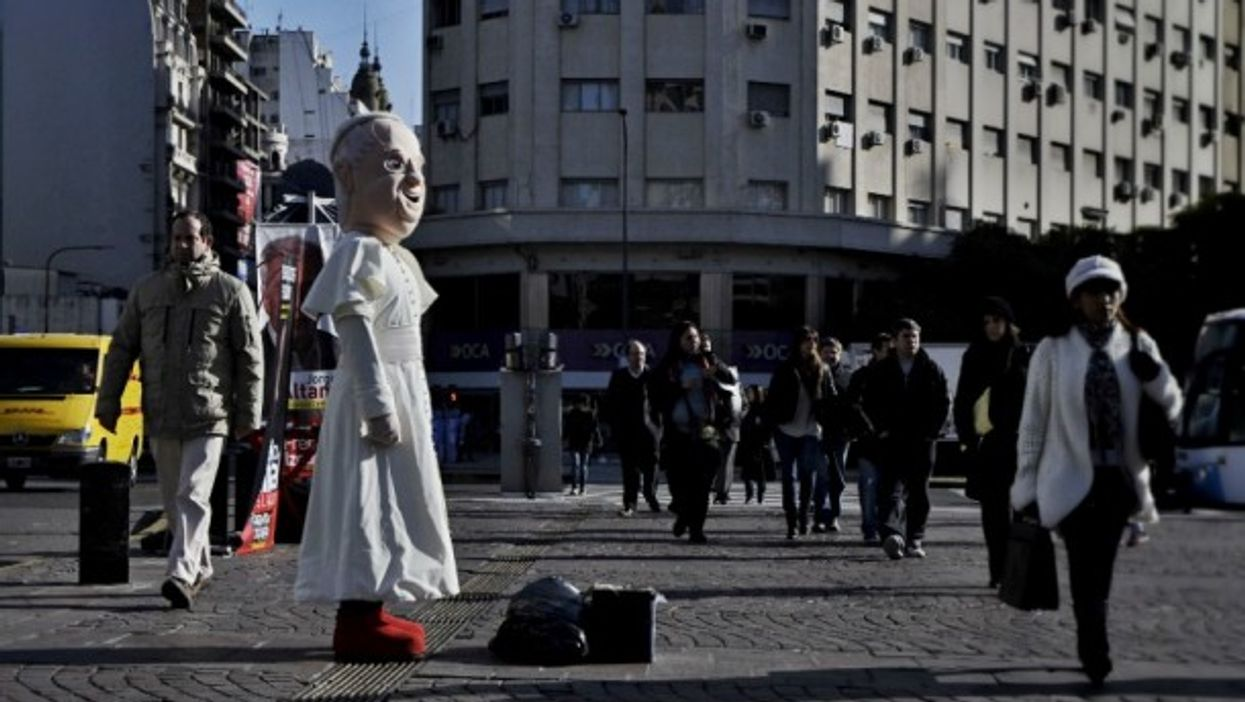 Man dressed as Pope Francis in Buenos Aires