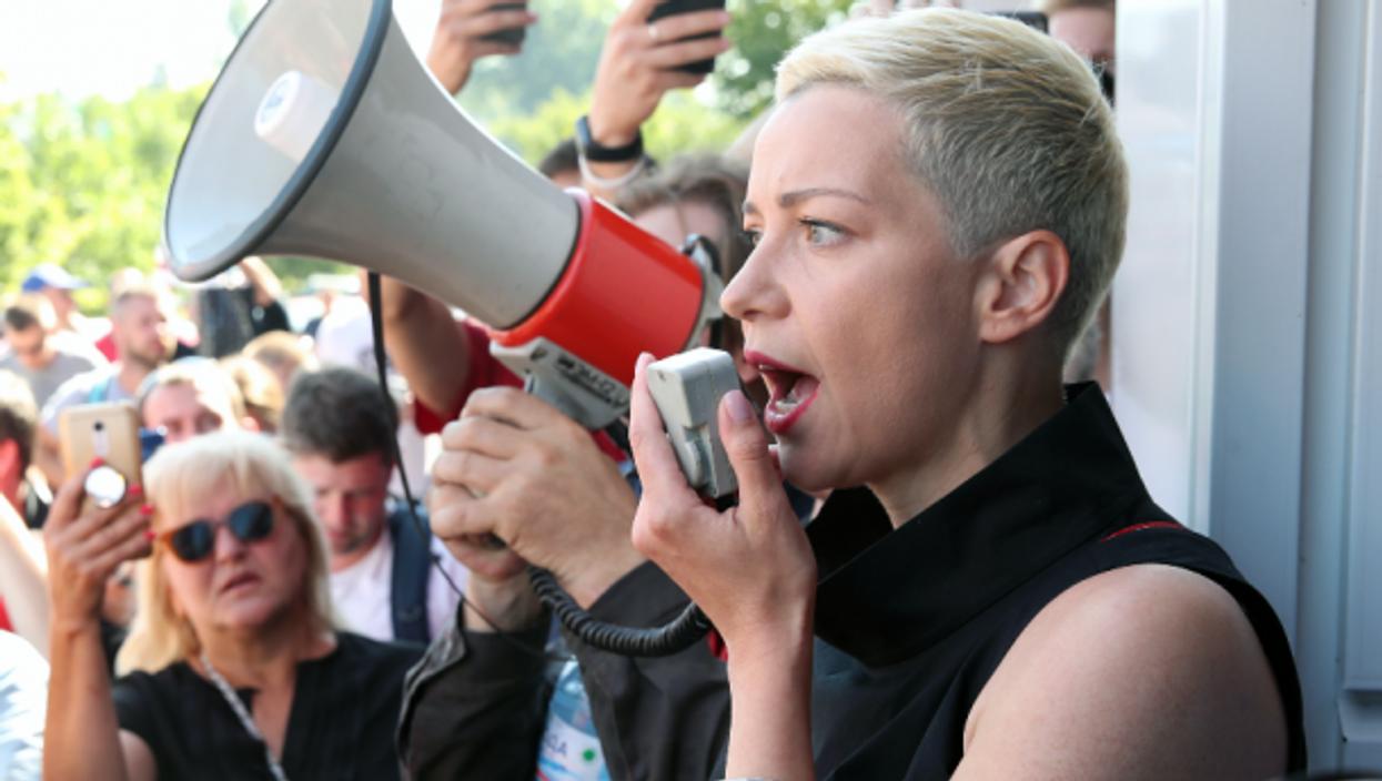 Maria Kolesnikova speaks into a megaphone during a rally in Minsk, August 17, 2020.