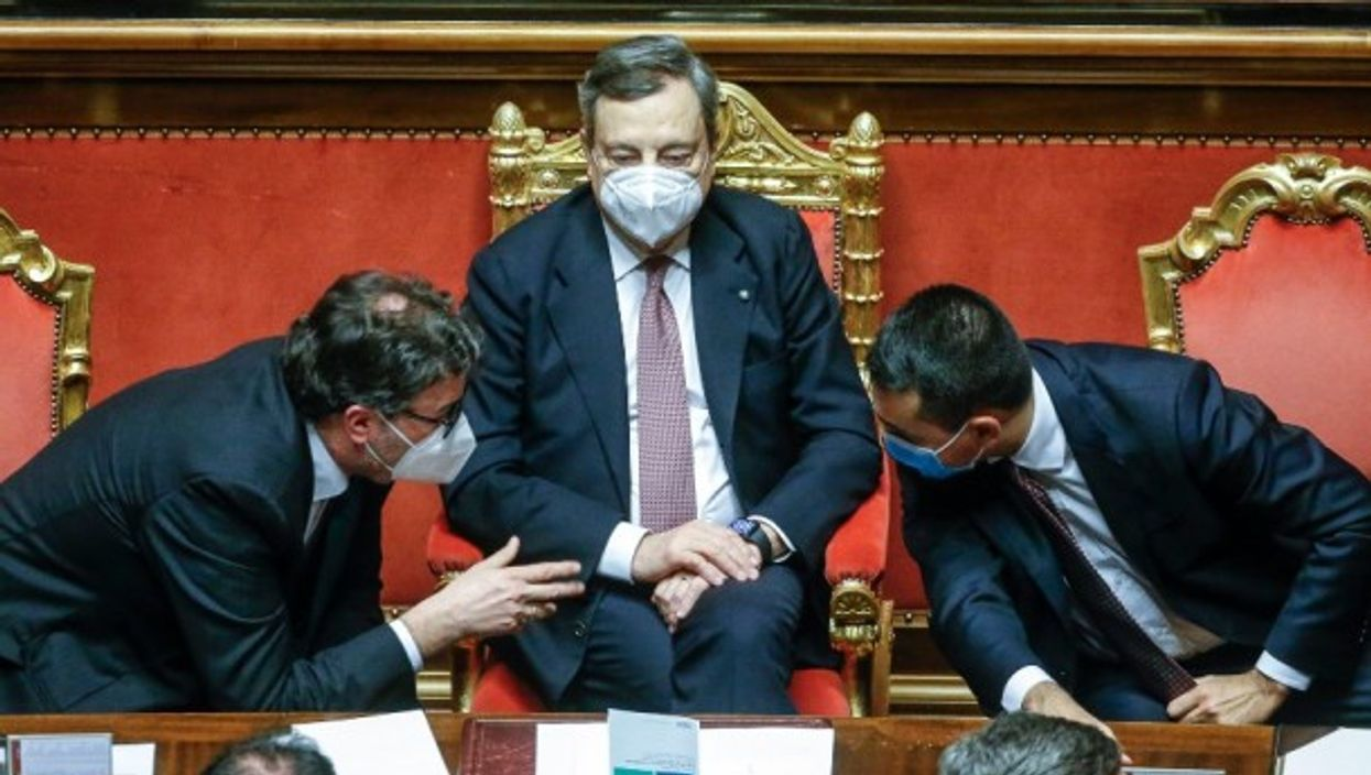 Mario Draghi (center) in Parliament on Thursday