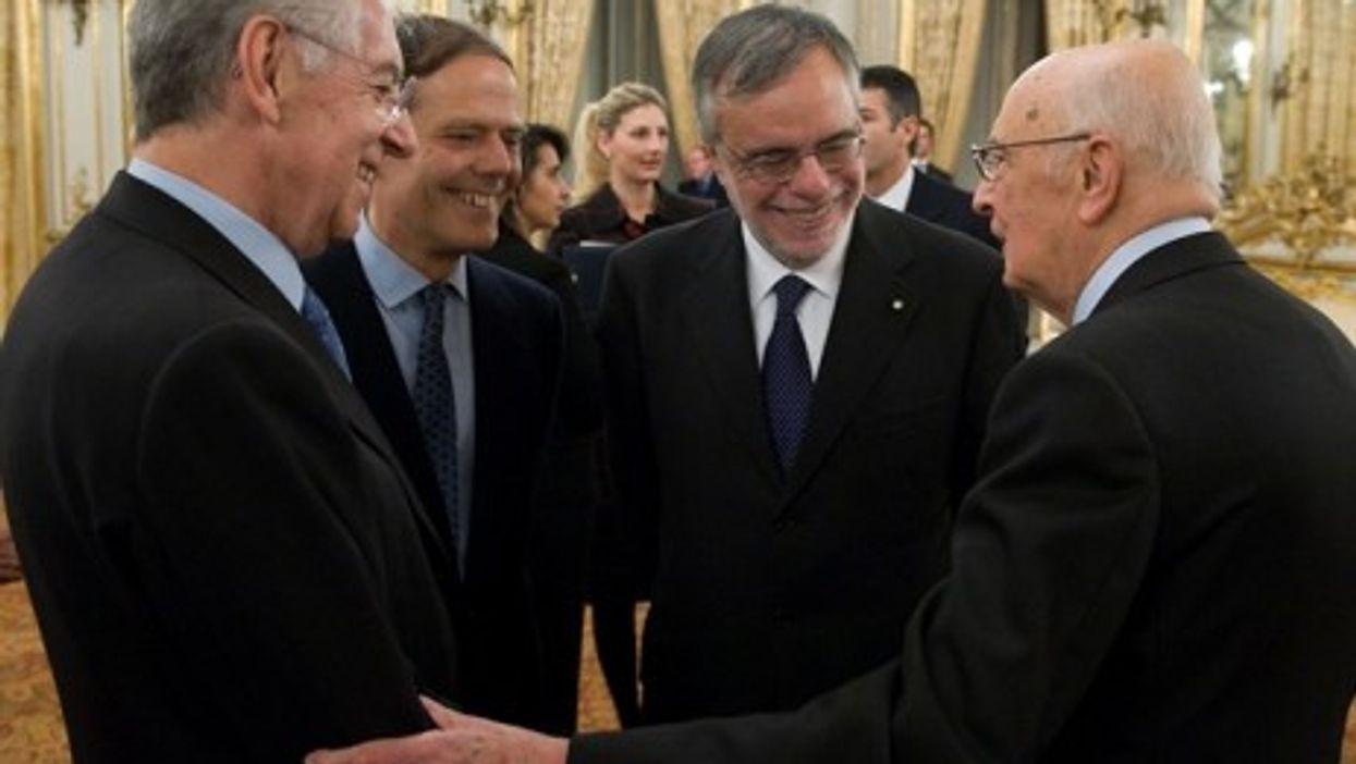 Mario Monti (far left) and Giorgio Napolitano (far right) (Presidenza Della Repubblica)