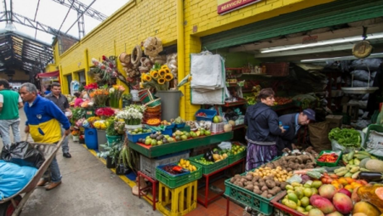 Market stalls in Bogota
