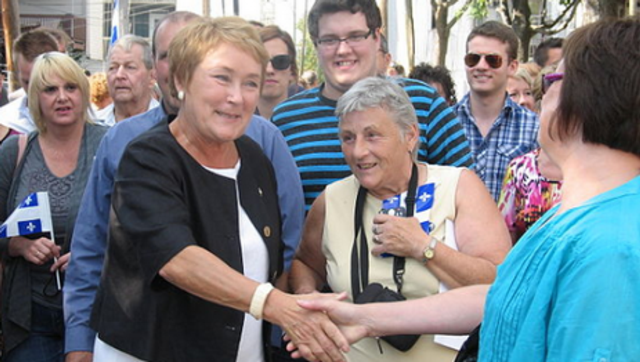 Marois meets her supporters