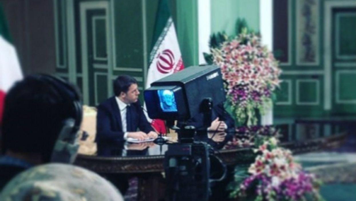 Matteo Renzi and Hassan Rouhani filmed on Iranian TV on Tuesday