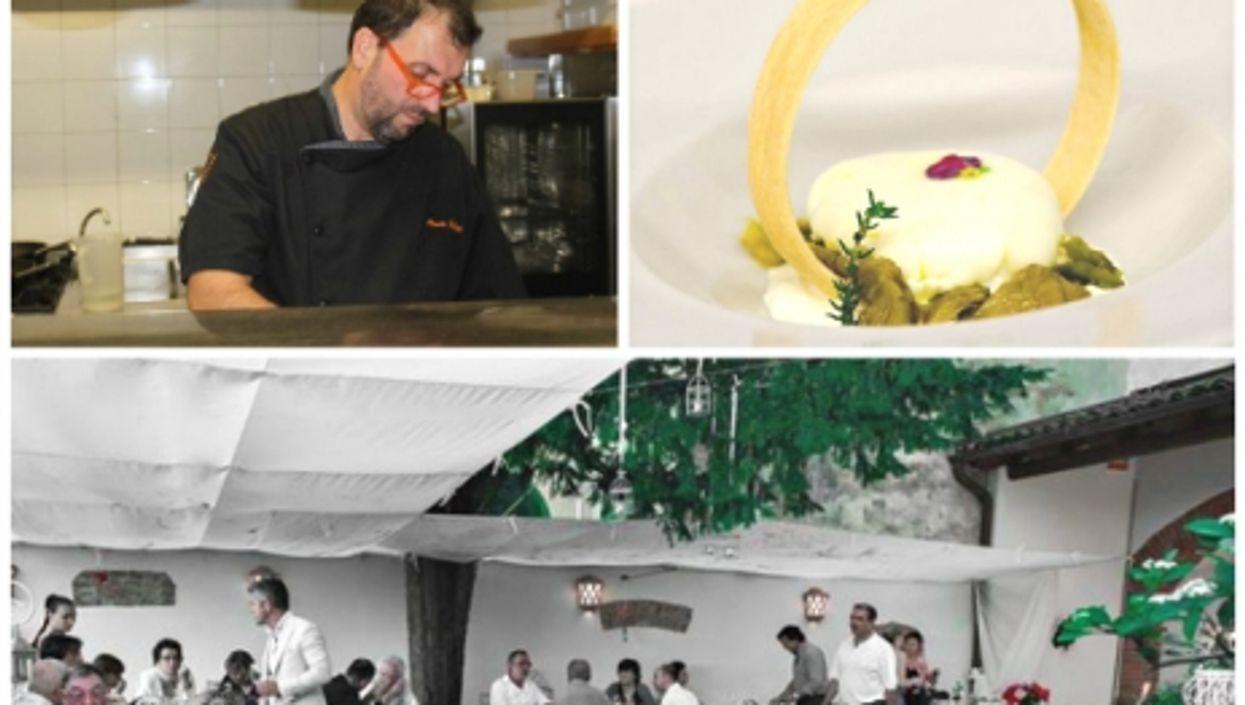Mauro Bellotti cooking, Raviolini and artichokes and the restaurant's terrace