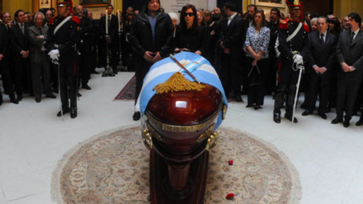 Maximo and Cristina Kirchner at the 2010 funeral of Nestor Kirchner (Wikipedia)