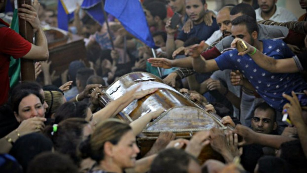 May 2017 funeral for victims of attacks of buses carrying Coptic Christians.
