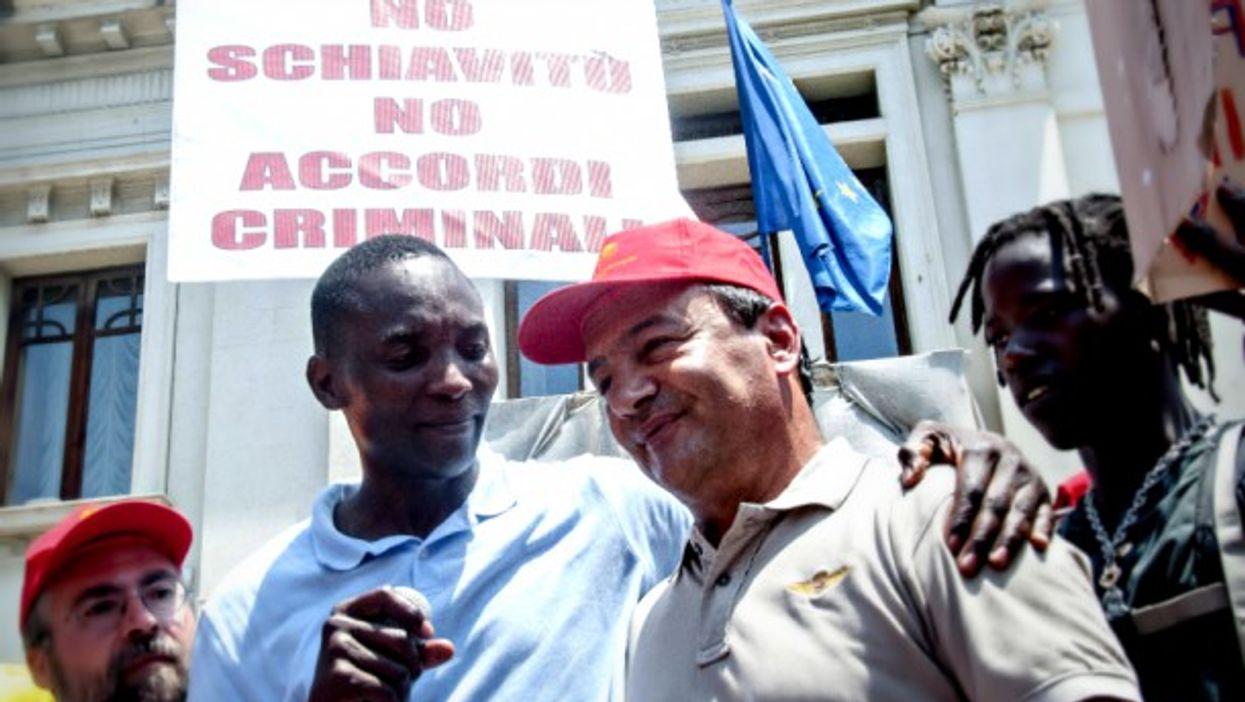 Mayor of Riace Domenico Lucano (2nd from right) on June 24