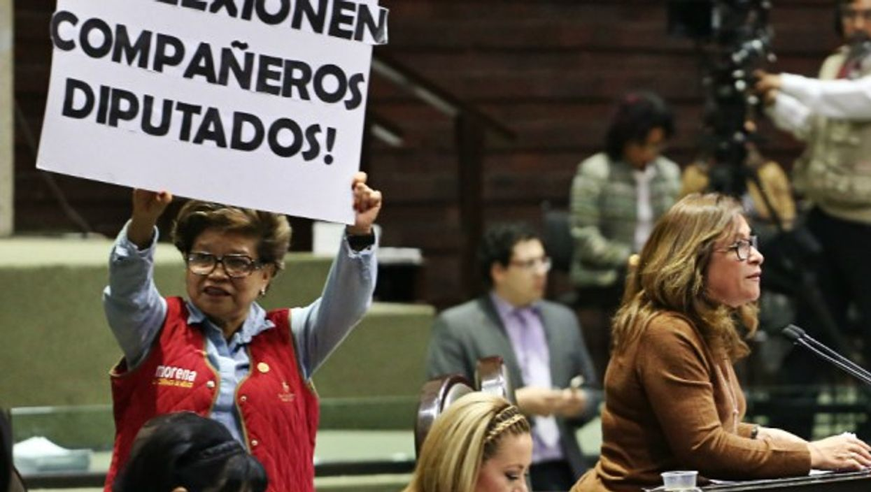 Members of the Mexican political party Morena protesting