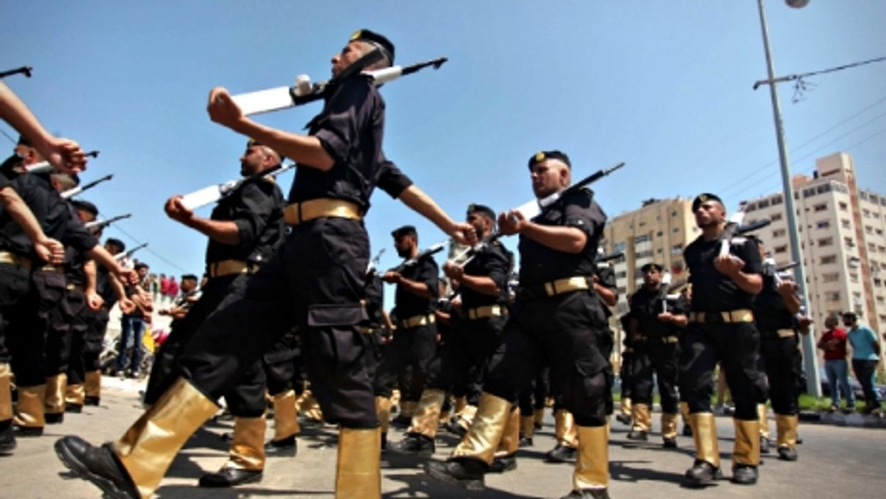 Members of the Palestinian Hamas security forces parading in Gaza on June 16