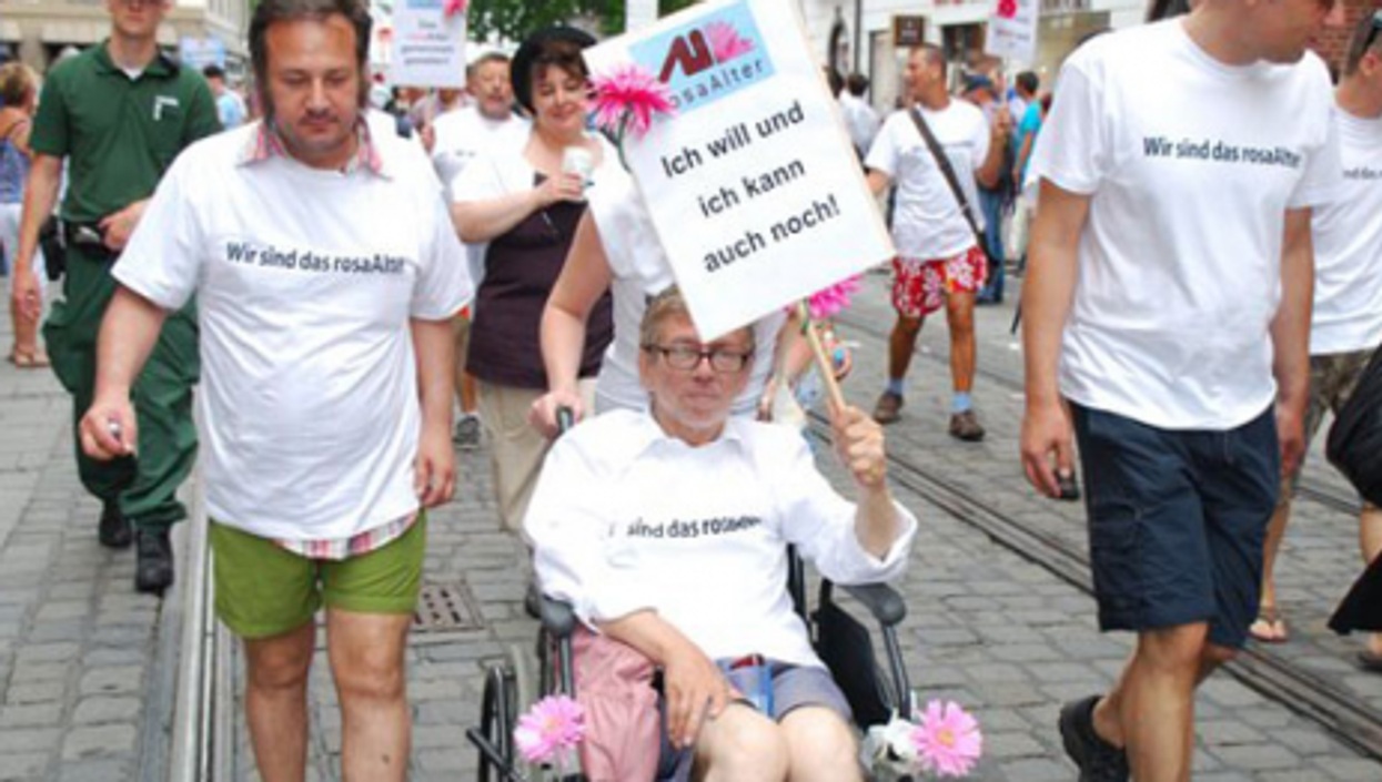 Members of the Rosa Alter group at a rally in Germany