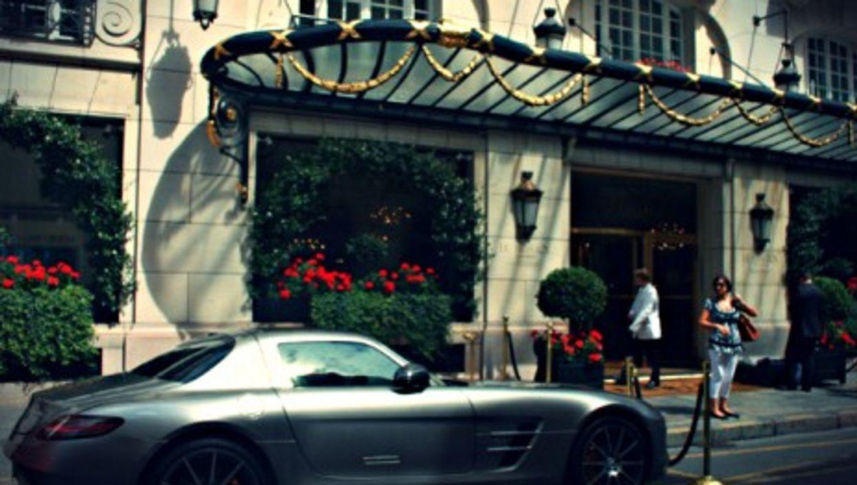 Mercedes SLS outside Le Bristol Hotel in Paris