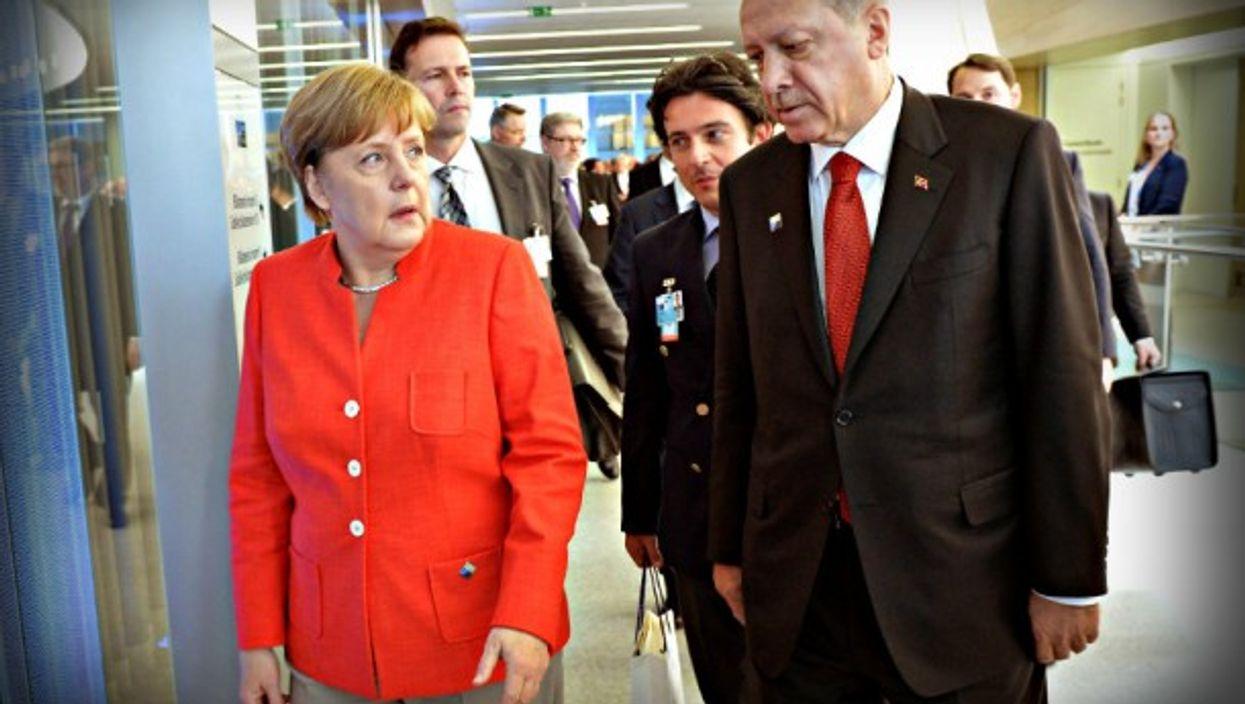 Merkel and Erdoğan at the NATO summit in Brussels