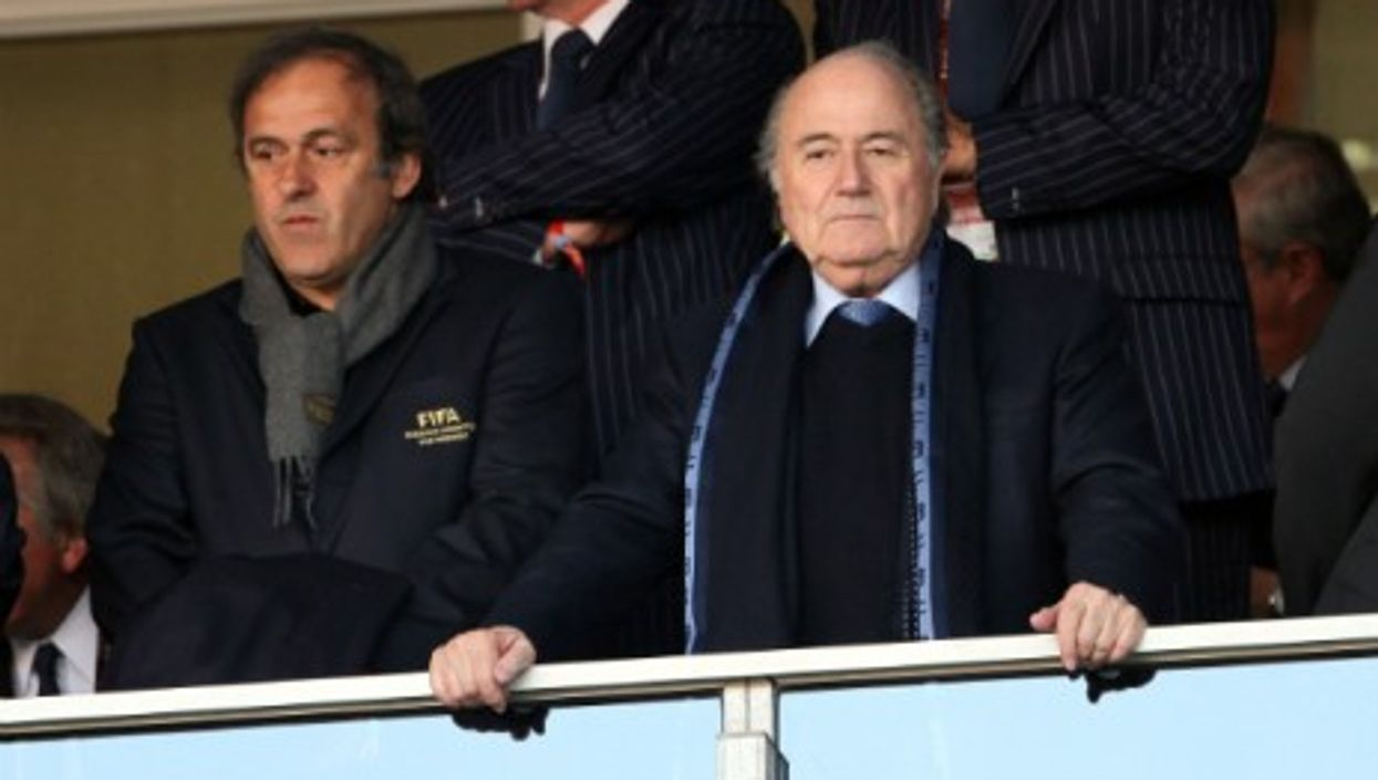 Michel Platini and Sepp Blatter during the 2010 World Cup