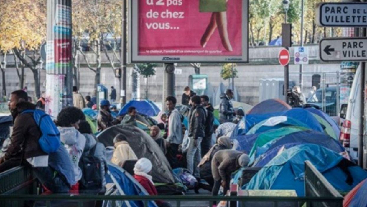 Migrant camp in Stalingrad, Paris on Oct. 31