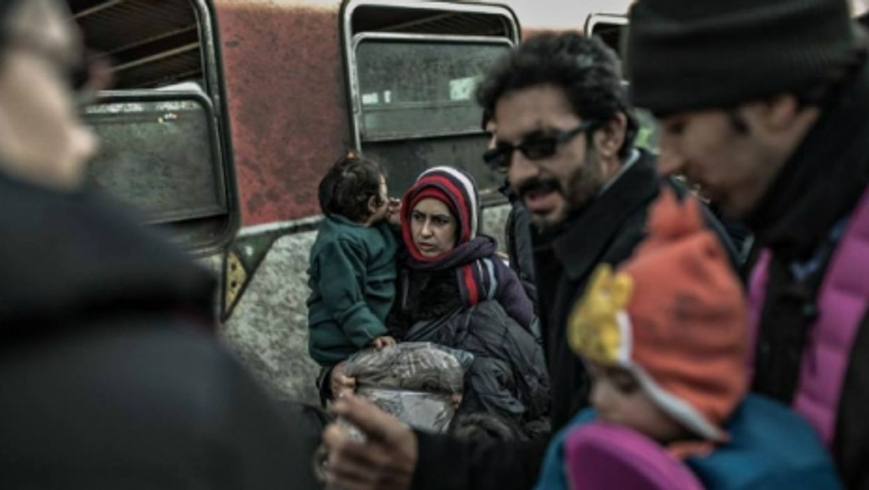 Migrants near the Macedonia-Serbia border