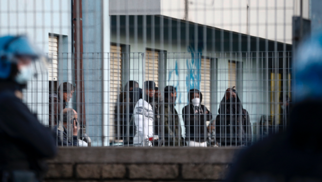 Migrants protest in the migrant reception center of Torre Maura where there are some coronavirus infected cases