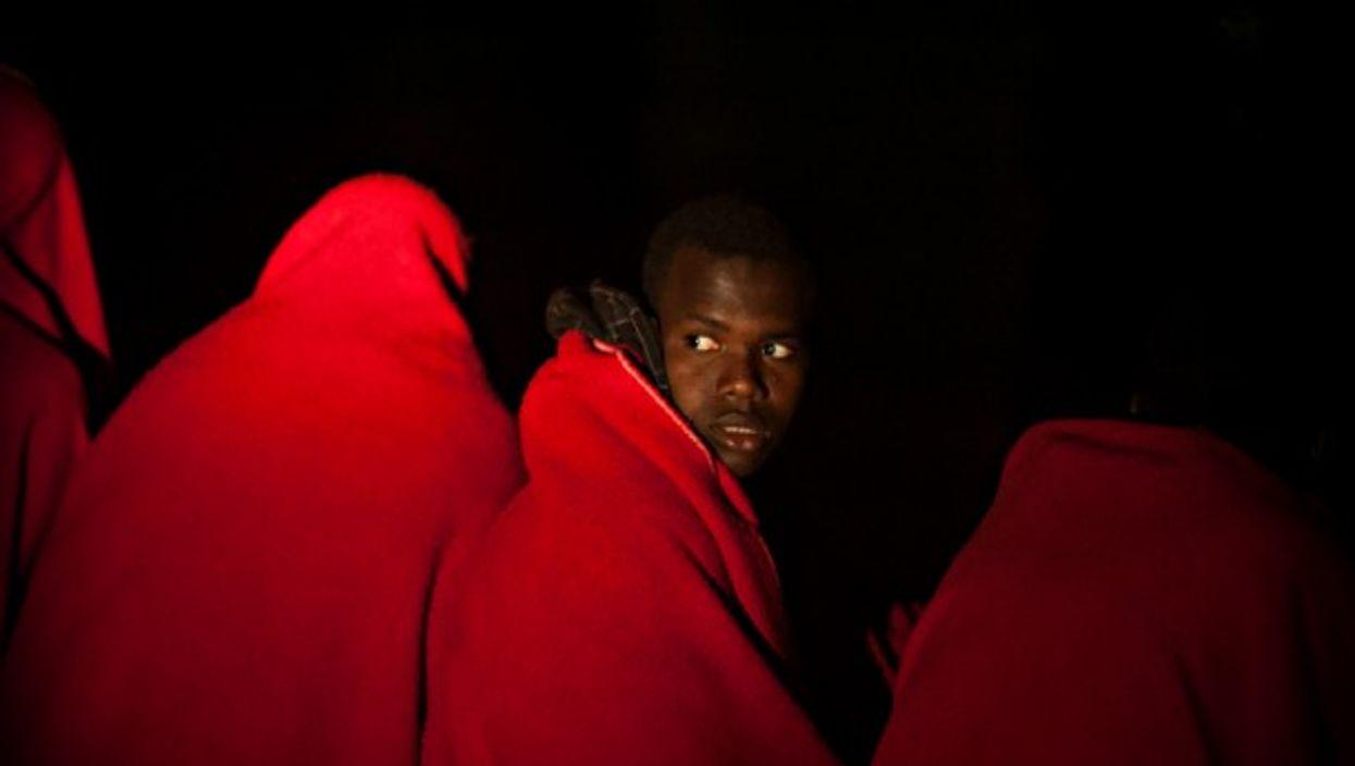 Migrants rescued near the coast of Malaga, Spain, on May 23