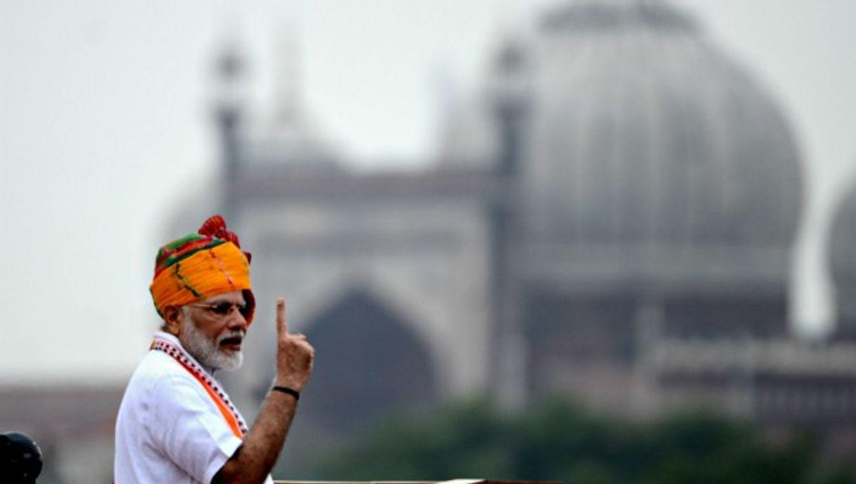 Modi speaking in New Delhi on Aug. 15