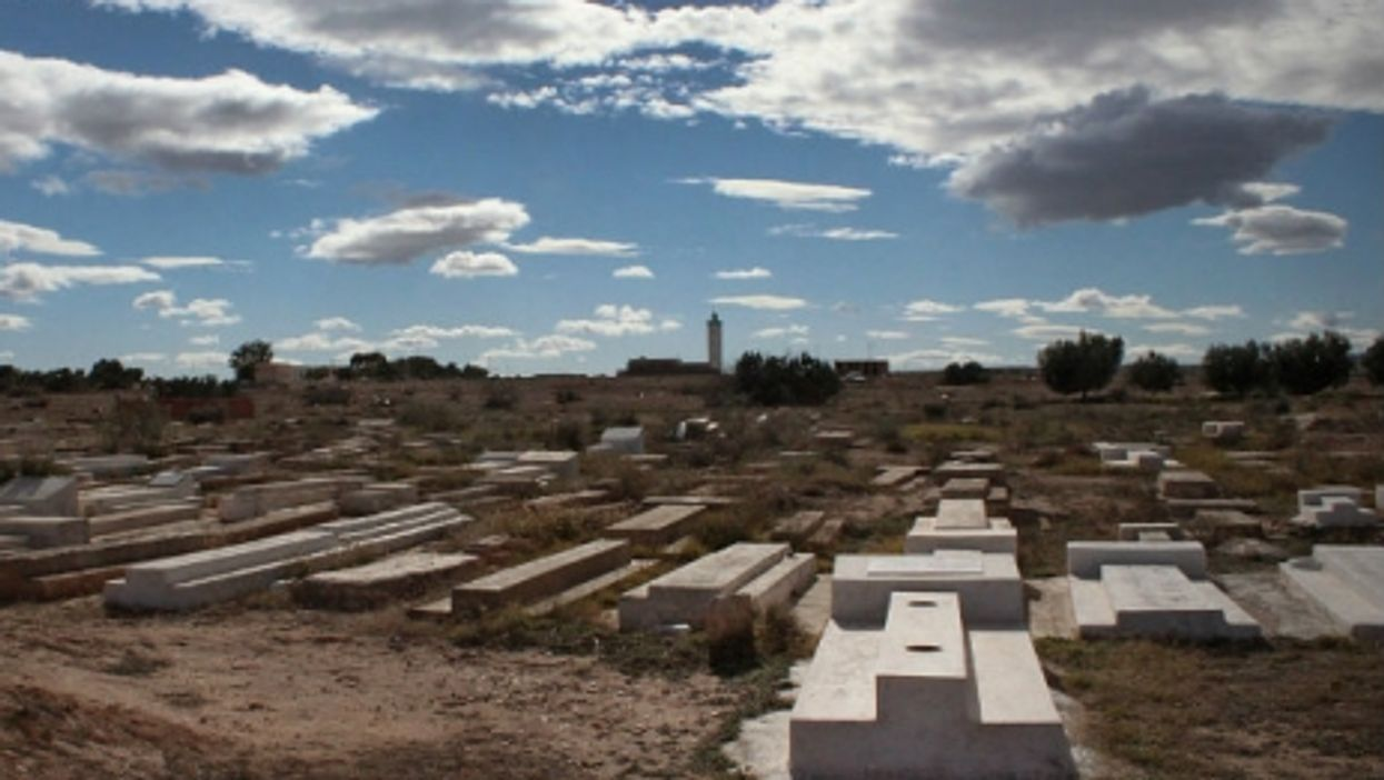Mohamed Bouazizi's tomb (foreground) in December 2014.