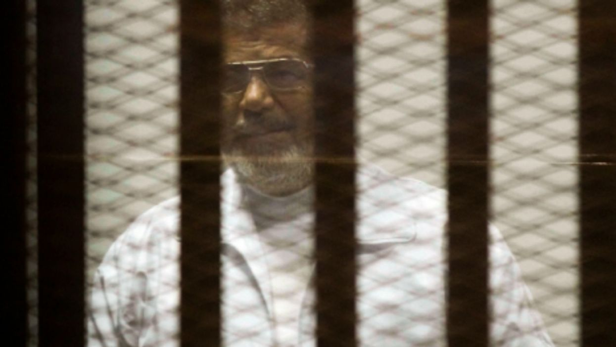 Mohamed Morsi during his trial in Cairo on March 26, 2015