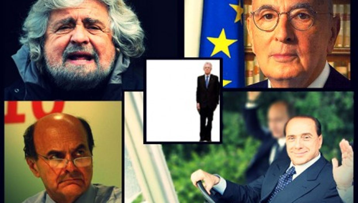Monti (center) ended up looking small in the political ring. Also pictured clockwise from top left: Grillo, Napolitano, Berlusconi, Bersani