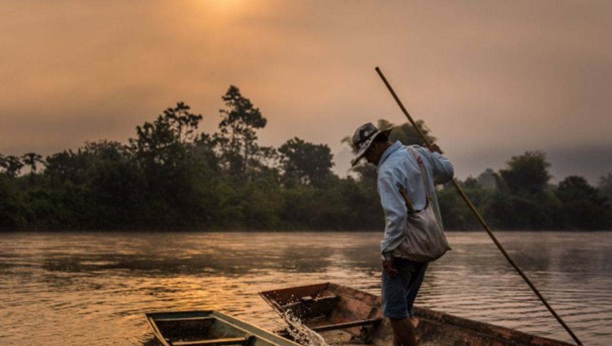 Morning scenery of Laos' Nam Lik River, a tributary of Mekong River