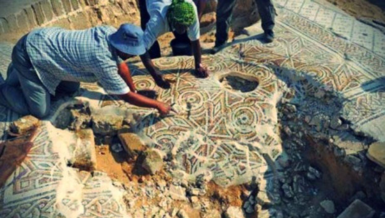 Mosaic pavement in the Saint Hilarion Byzantine monastery