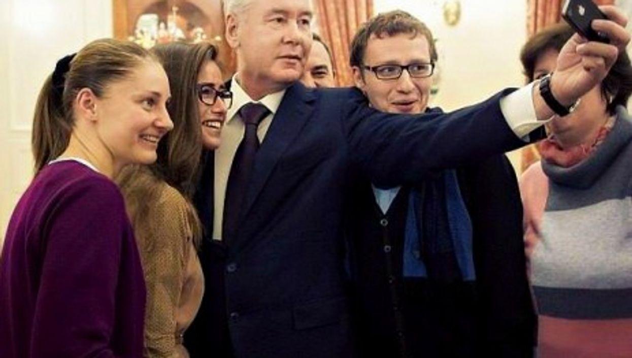 Moscow Mayor Sergey Sobyanin taking a selfie
