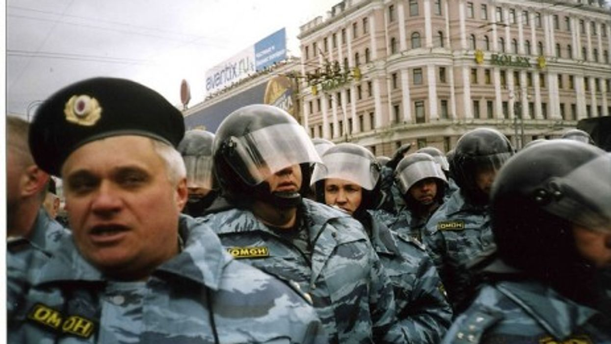 Moscow riot police in action