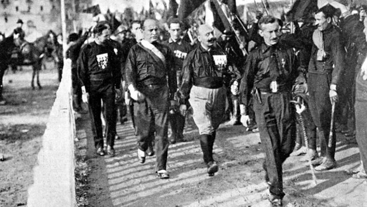 Mussolini 'marching on Rome' in 1922