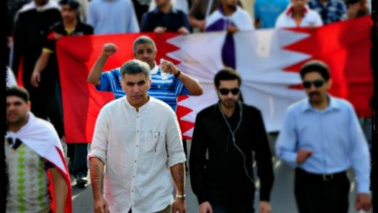 Nabeel Rajab in white
