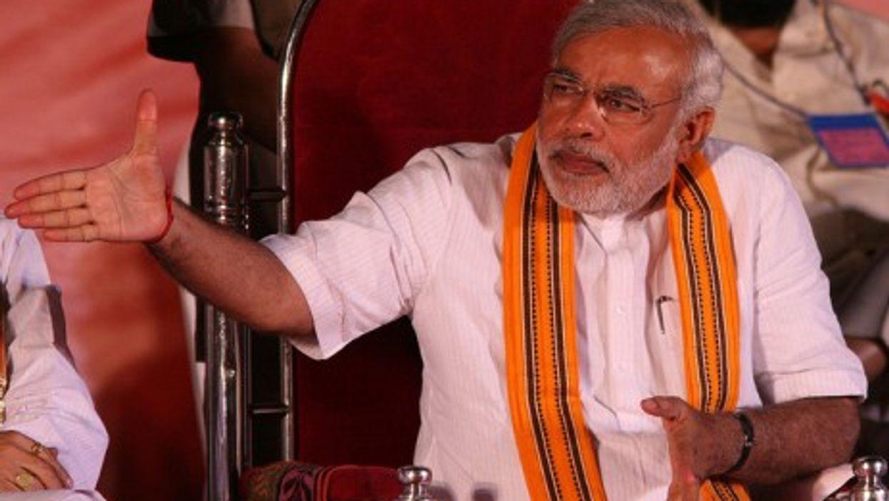 Narendra Modi at a BJP rally (Al Jazeera)