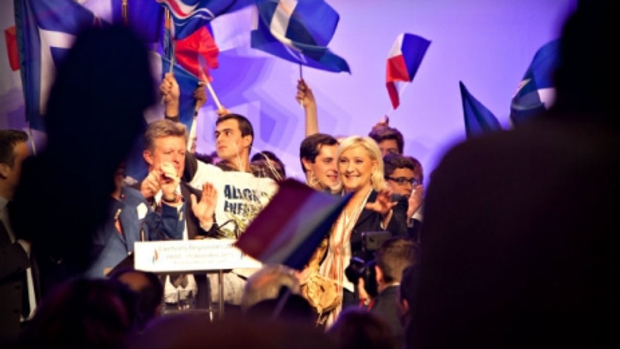 National Front leader Marine Le Pen at a party meeting