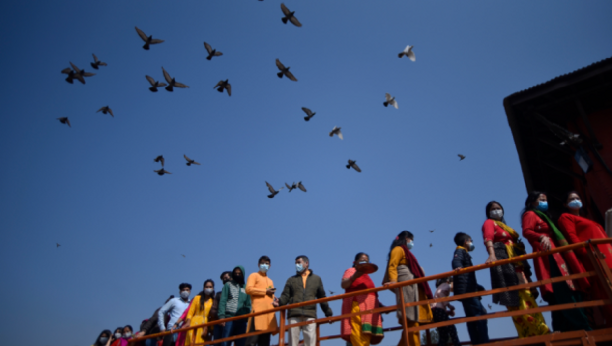Nepalese devotees celebrating the Maha Shivaratri Hindu festival in Kathmandu on March 11