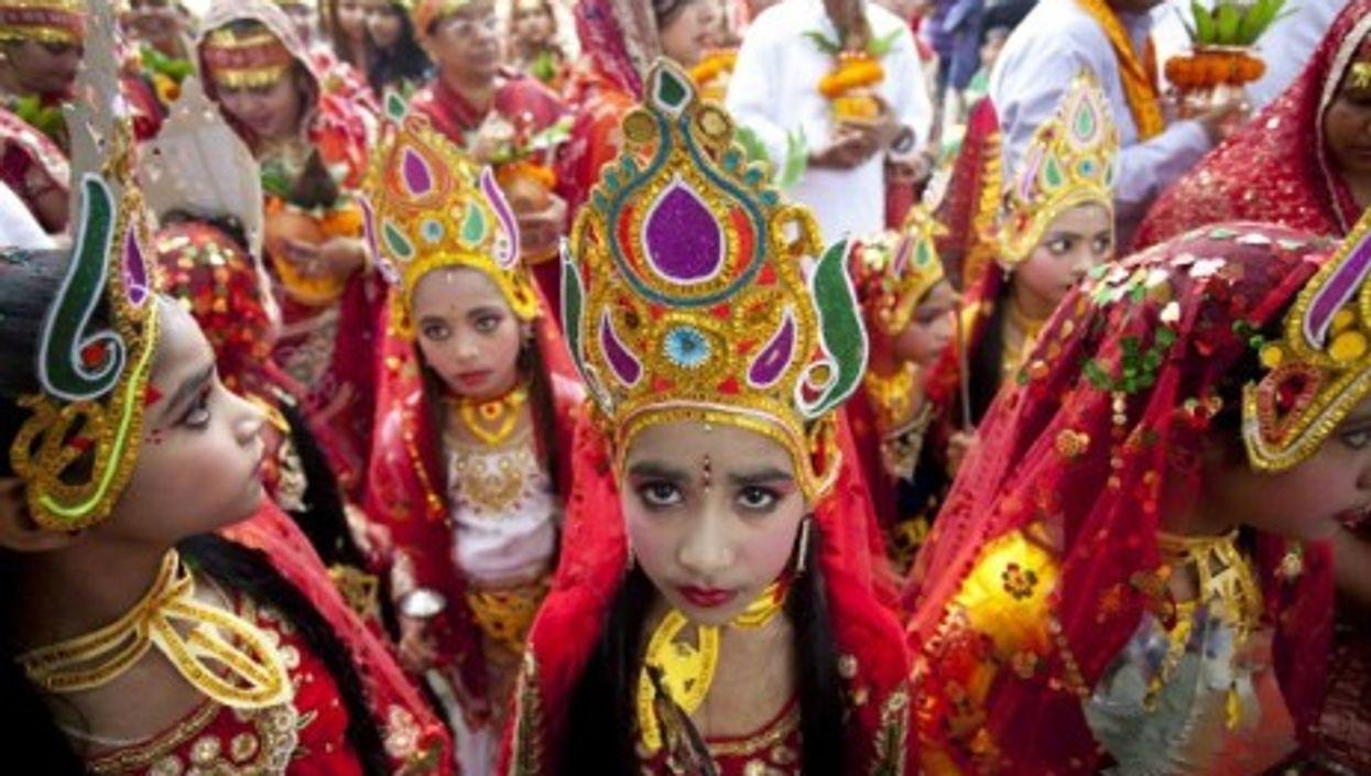 Nepalese girls celebrate the beginning of the Dashain festival.