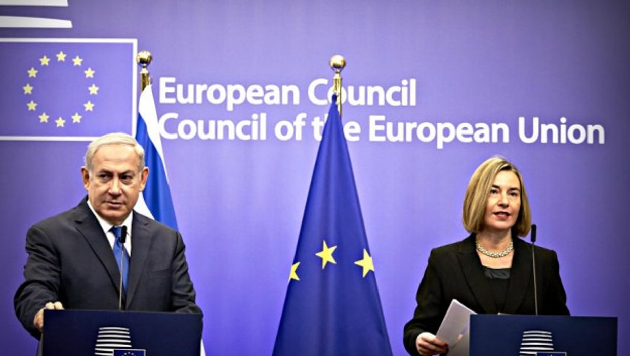 Netanyahu and Mogherini on Monday in Brussels