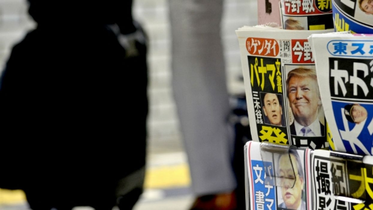 Newspaper in Japan showing Donald Trump
