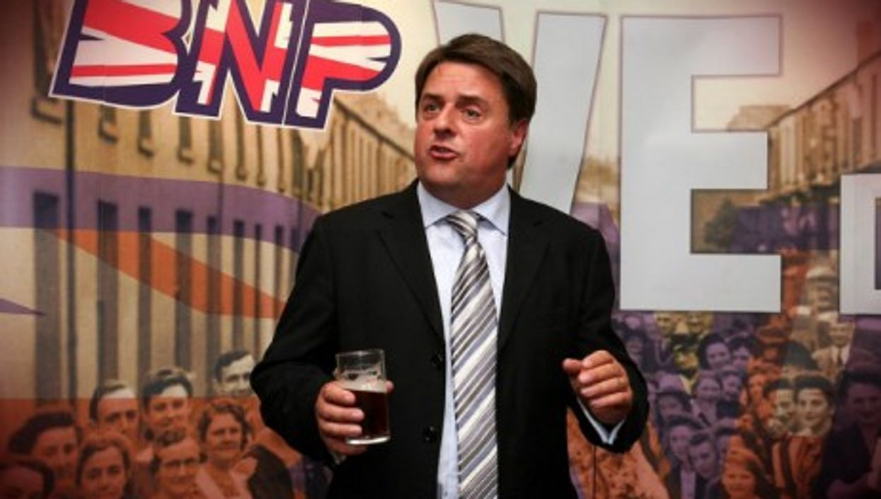 Nick Griffin at a BNP press conference in 2009