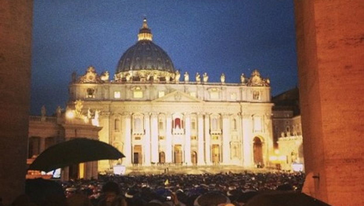 Night and new pope arriving last night in Piazza San Pietro