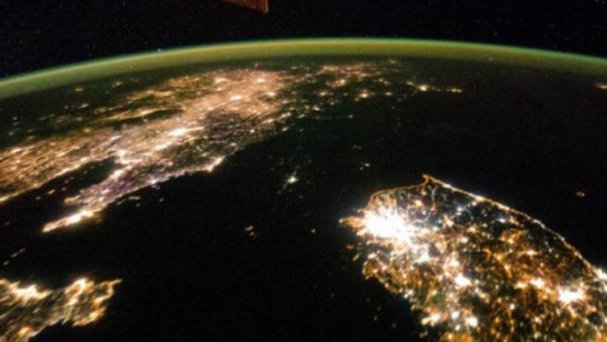 Night imagery of North vs. South Korea