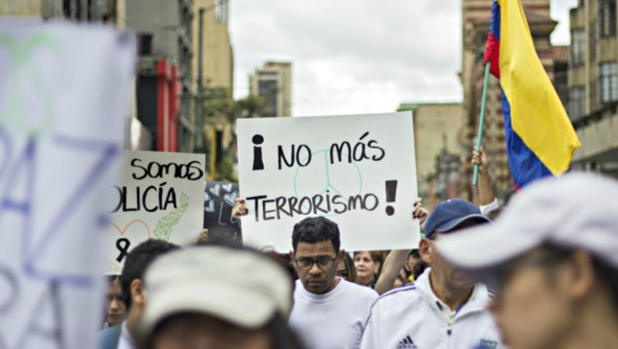 'No more terrorism!' at a Bogota march on Jan. 20