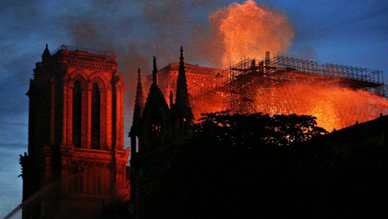 Notre Dame burning on April 15