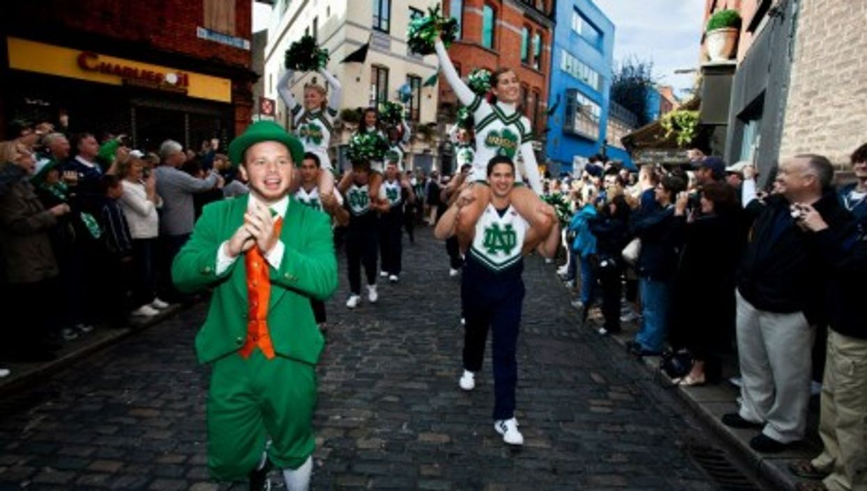 Notre Dame Cheerleaders Parading In The Streets Of Dublin