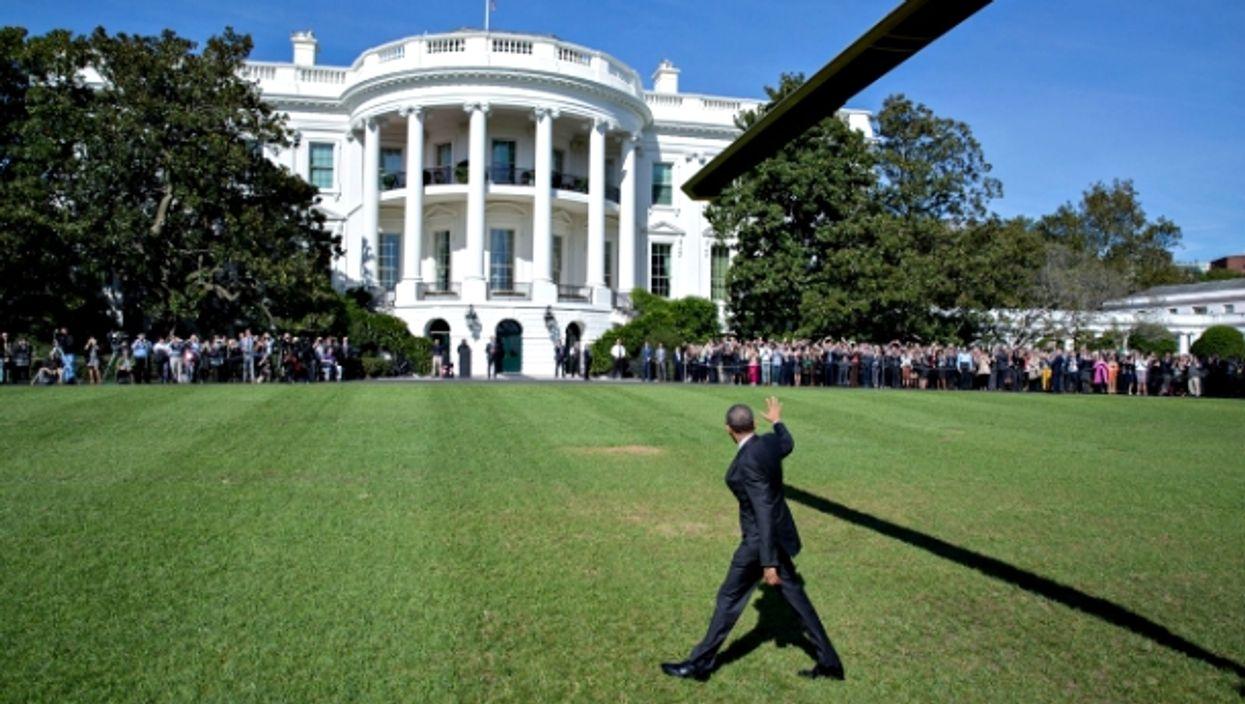 Obama outside the White House.