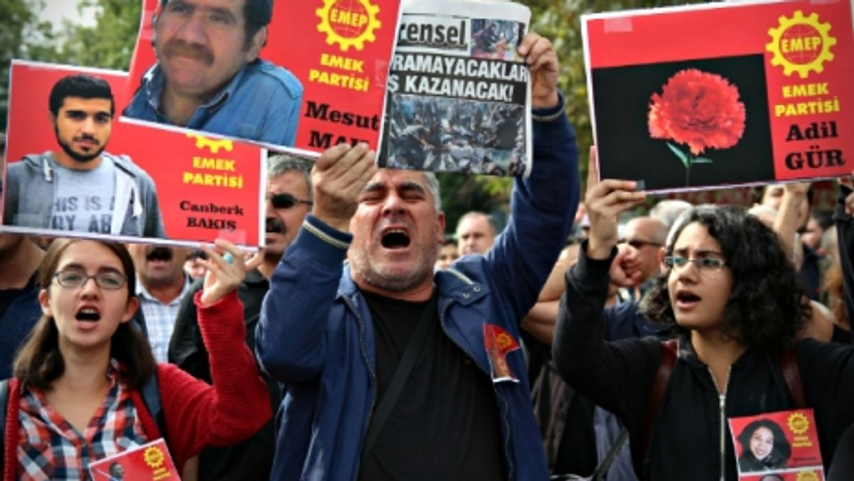 Oct. 11 commemoration walk for the victims of Saturday's bombings in Ankara