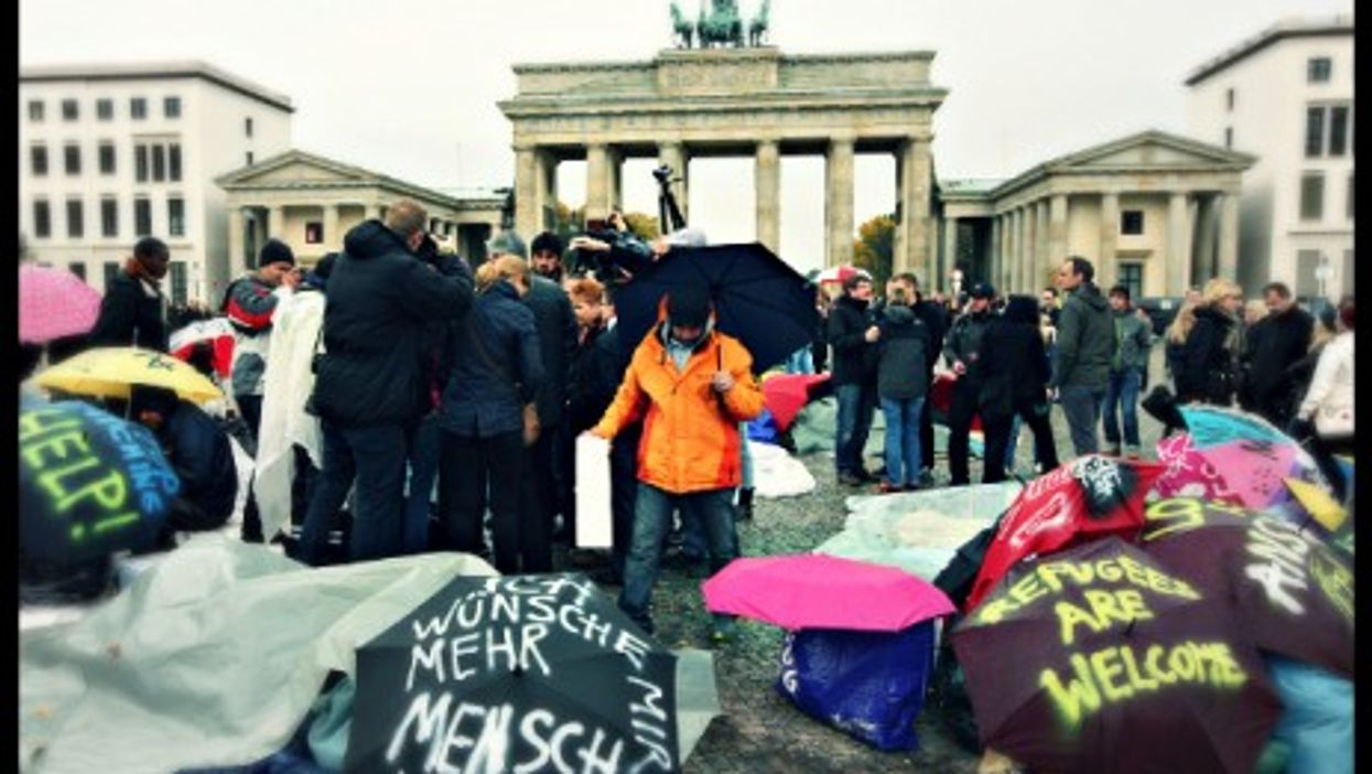 Oct. 2013 protest in support of Lampedusa refugees in front of Berlin's Brandenburg Gate