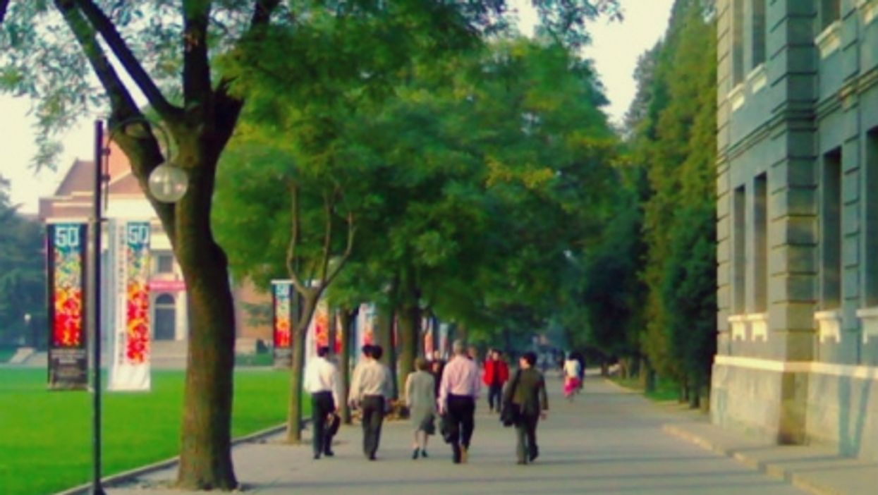 On the campus of Tsinghua University in Beijing.