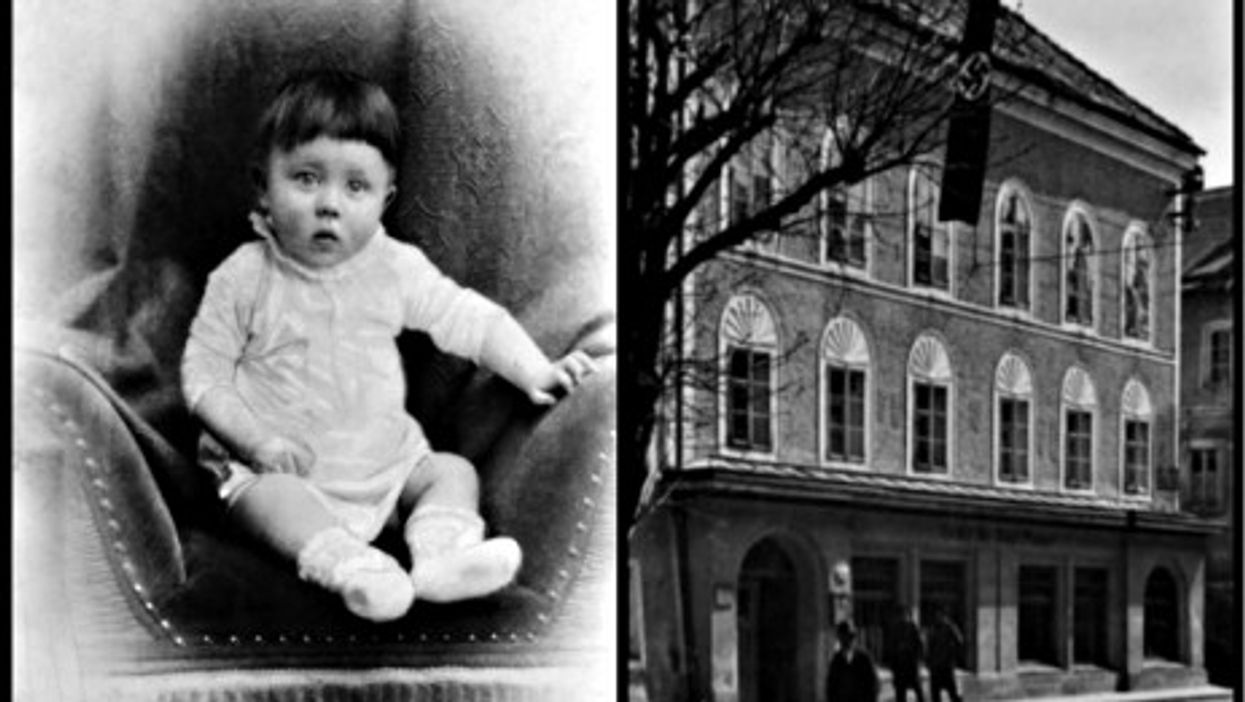 One-year-old Hitler and the house he was born in, in Braunau, Austria
