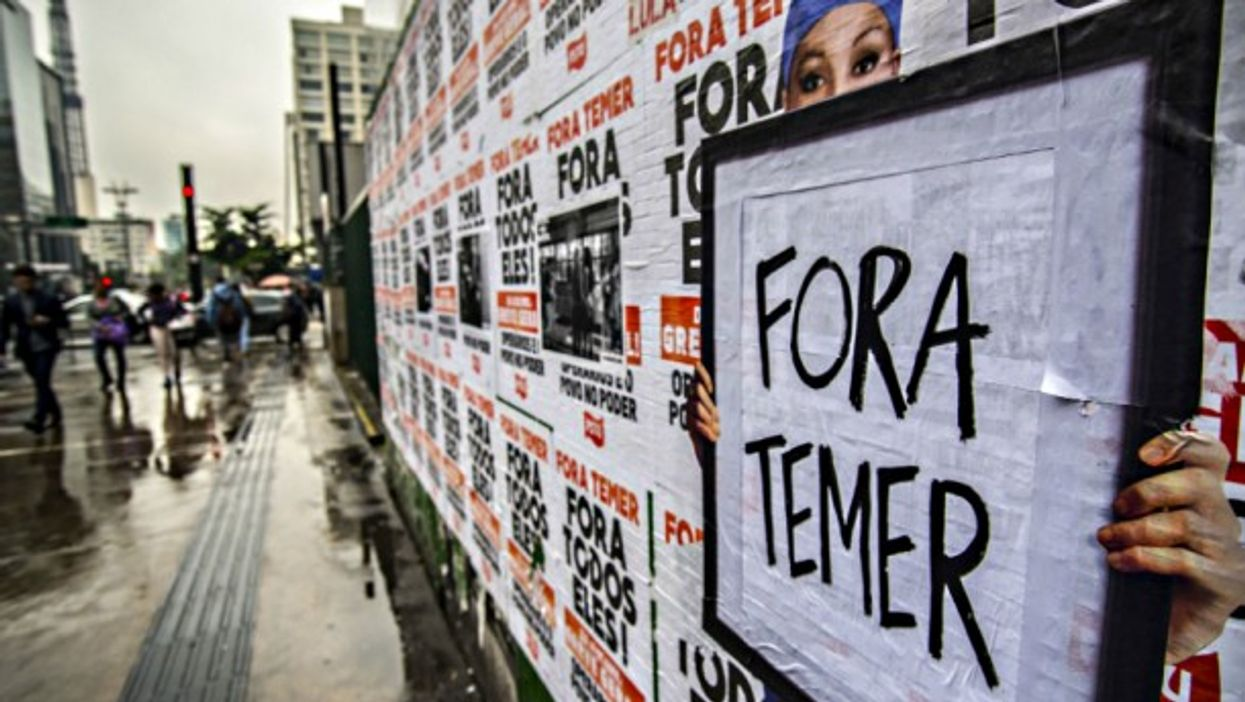 'Out with Temer' street art in Sao Paulo